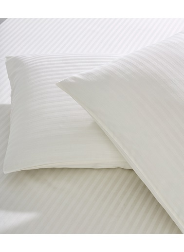 Komfort Home Çizgili Pamuk Saten Yastık Kılıfı (1 Adet) Krem